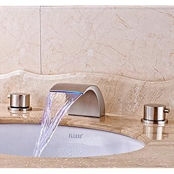 Greenspring Widespread LED Bathroom Waterfall Basin Faucet Dual ...