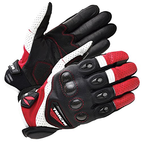(RS Taichi VELOCITY LEATHER MESH GLOVE WHITE/RED Large)