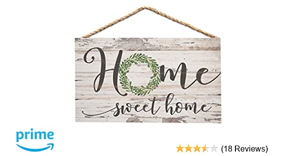 P  Graham Dunn Home Sweet Home Whitewash 6 x 3 5 Wood Mini Wall Hanging  Plaque Sign