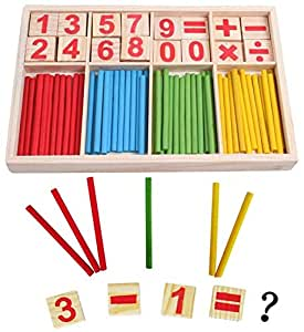 Wooden Number Cards and Counting Rods with Box Mathematical Intelligence Stick Building Blocks