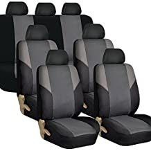 FH GROUP FH-FB064217 Three Row Cross Weave Fabric Seat Covers Airbag Compatible & Rear Split Bench Gray / Black- Fit Most Car, Truck, Suv, or Van