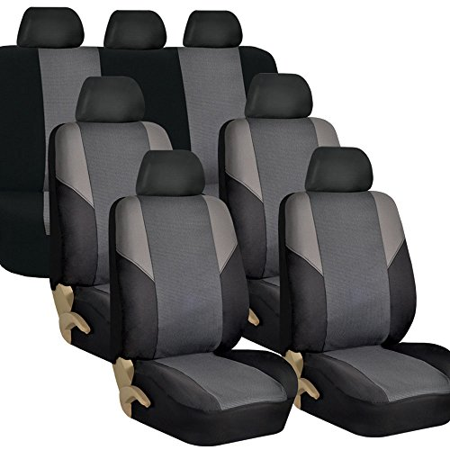 FH Group - FB064GRAY217 - Time Less Cross Weave Seat Cover for 3 Rows