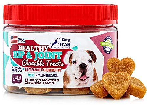 Glucosamine Chondroitin MSM and Hyaluronic Acid Soft Chews 9.5 ounce jar contains 65 Bacon Flavored Joint Supplement Treats for Dogs - Our Joint Chews Make It Easy to Swallow Unlike Pills or Powders