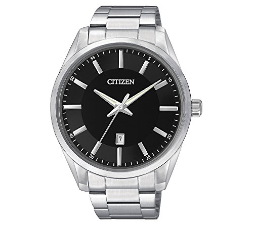 Citizen-Mens-Black-Dial-Stainless-Steel-Watch