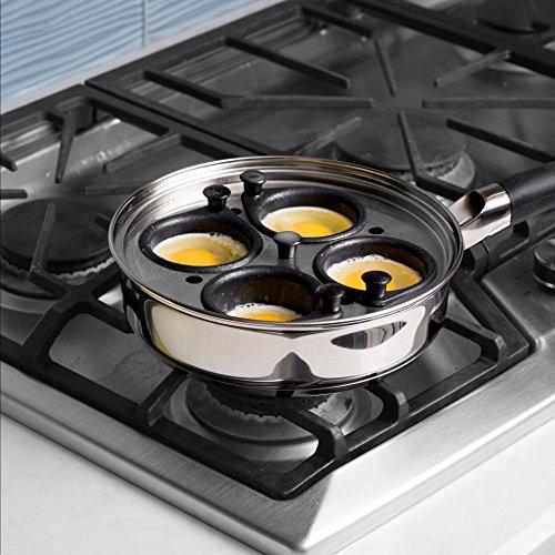 Modern Egg Poacher Pan Nonstick Cups, Pan, Silicone Handle, Lid, and Bonus