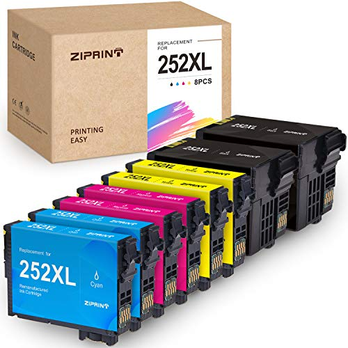 ZIPRINT Remanufactured Ink Cartridge Replacement for Epson 252 XL 252XL T252XL Ink for Epson Workforce WF-7720 WF-7710 WF-3640 WF-3630 WF-3620 WF-7620 WF-7610 WF-7110 Printer, 8-Pack (Epson Workforce Wf3620 Ink)
