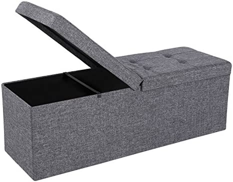SONGMICS 43 Inches Fabric Storage Ottoman Bench with Lift Top, Storage Chest Foot Rest Stool, Cold Gray