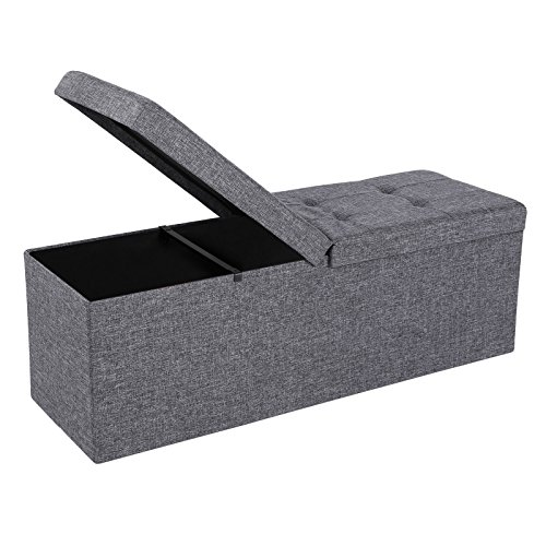 SONGMICS Folding Storage Ottoman Bench with Lift Top, Storage Chest with Iron Frame Support, Dark Grey ULSF70H Bench Hamper