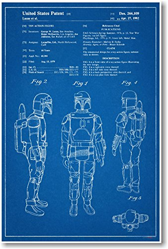 Boba Fett Patent - NEW Famous Invention Star Wars Blueprint Poster