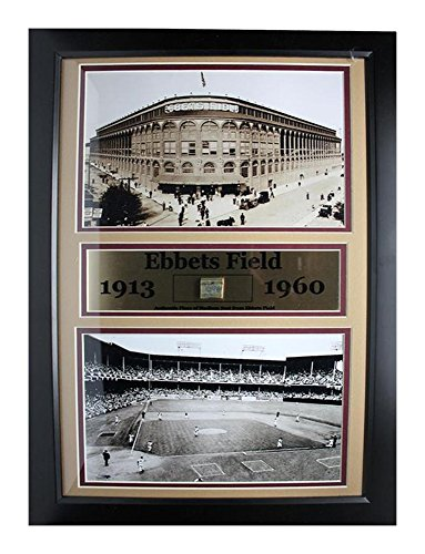 (Encore Select 130-17 MLB Brooklyn Dodgers Framed Ebbets Field Print and Authentic Piece from Ebbets Field, 12-Inch by 18-Inch )