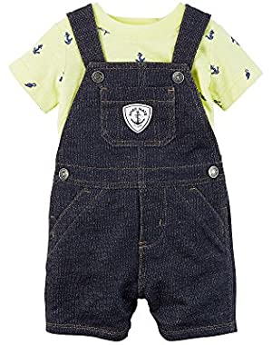Carter's Baby Boys 2-Piece Denim Overalls And Yellow Tee