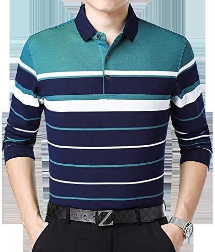 Polo de Manga Larga para Hombre Camiseta de Rayas Casual para ...