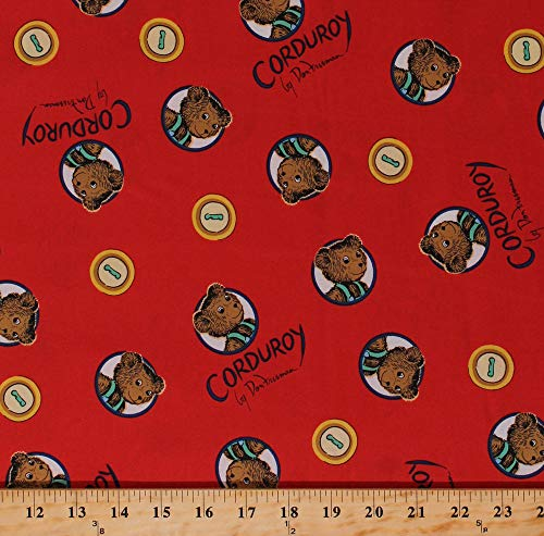 (Cotton Corduroy Teddy Bears Buttons Don Freeman Children's Book Character Red Organic Kids Cotton Fabric Print by The Yard)