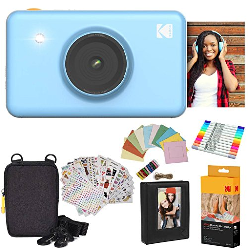 Kodak Mini Shot Instant Camera (Blue) Gift Bundle + Paper (20 Sheets) + Deluxe Case + 7 Fun Sticker Sets + Twin Tip Markers + Photo Album + Hanging Frames