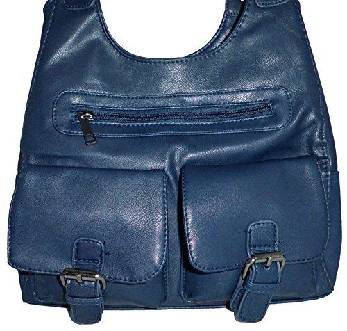 Schultertasche Handtasche Umhängetasche Henkeltasch dunkelblau