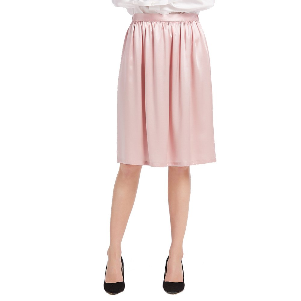 LILYSILK Women's 100% Silk Skirt With Ruffle Short A Line Knee Length for Lady 22 Momme Pure Charmeuse Silk Rosy Pink Size M