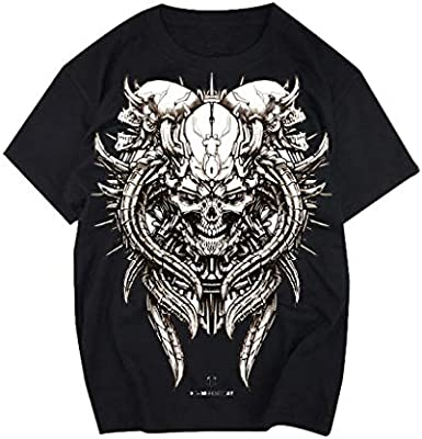 Hombres Camiseta Estilo Heavy Metal Camisetas con estampado de calaveras Manga Corta Negro \ Blanco: Amazon.es: Bricolaje y herramientas