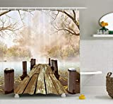 Rustic Shower Curtains Ambesonne Shower Curtain Collection, Ocean Decor Fall Wooden Bridge Seasons Lake House Nature Country Rustic Home Art Paintings Pictures for Bathroom Seascape Decorations, Brown Beige Khaki Yellow