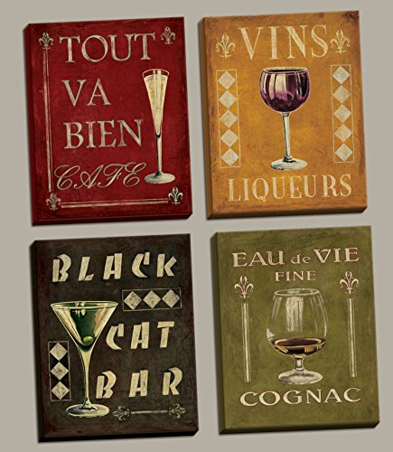 Gango Home Decor 4 Vintage Martini Wine Cocktail French Art Deco Bar Canvases, Four 8x10-Inch Hand-Stretched Canvases, -