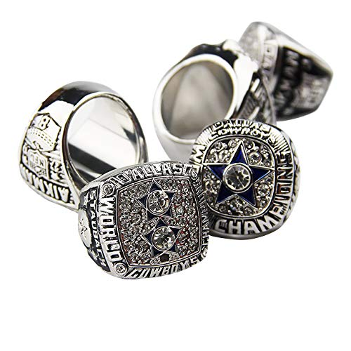 (HASTTHOU Dallas Cowboys Supper Bowl Championship Rings Display Box Full Set Replica (Yellow) (White))