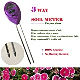 3-in-1 Soil Tester Kits, Moisture Soil Meter Sensor, Sunlight PH and Acidity Tester for Lawn Garden Plant Farm Indoor and Outdoor (No Battery needed) (Purple)