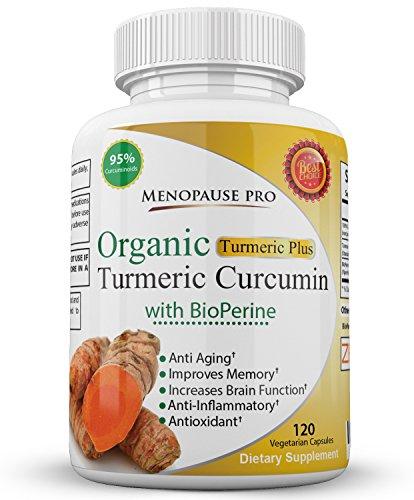 Prime bio extrait de curcuma avec 95 % curcuminoïdes et BioPerine pour 2000 % meilleure biodisponibilité pour soutien inflammatoire naturel - ménopause de Pro curcuma Plus 120 Capsules compléments pour la vie