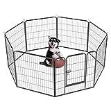 Yaheetech 32-inch 8 Panel Metal Dog Pen Playpen Foldable Play Yard Dog Puppy Cat Exercise Barrier Fence Pet Pen w/Door, Outdoor & Indoor,Black