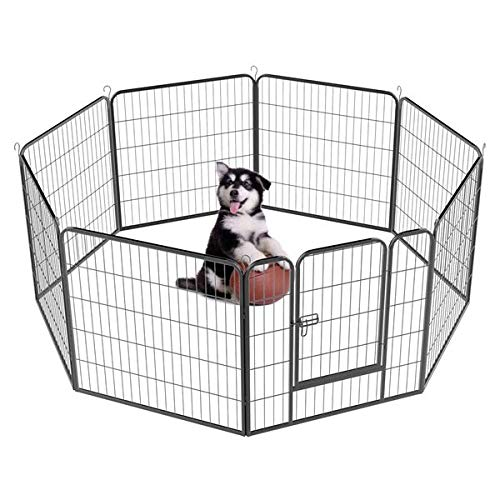 Yaheetech Dog Pen Playpen Play Yard Foldable - Portable Pet Puppy Cat Metal Exercise Barrier Fence w/Door Outdoor Indoor 32 inch 8 Panel Black ()