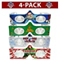 3D Christmas Glasses - 4 Pack Variety - Turn Holiday Lights Into Magical Images For A Christmas Experience. Our USA MADE Holiday Specs Are Excellent For Entertaining Family, Friends & Colleagues