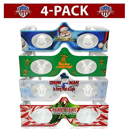 Holiday Lights Snowman (3D Christmas Glasses - 4 Pack Variety - Turn Holiday Lights Into Magical Images For A Christmas Experience. Our USA MADE Holiday Specs Are Excellent For Entertaining Family, Friends & Colleagues)