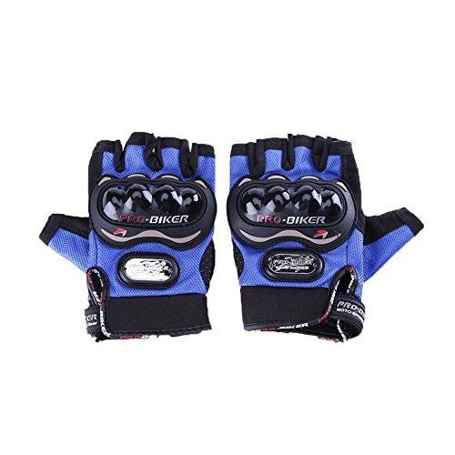 Domybest Motorcycle Rider Outdoor Sports Half Finger Gloves(Blue/M)