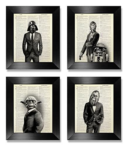 Funny Star Wars Print Set of 4, Star Wars Wall Art Set for Kids Man Office Decor, Living Room Decoration Artwork, Husband Boyfriend Birthday Gift, Darth Vader Yoda Dictionary Art Print