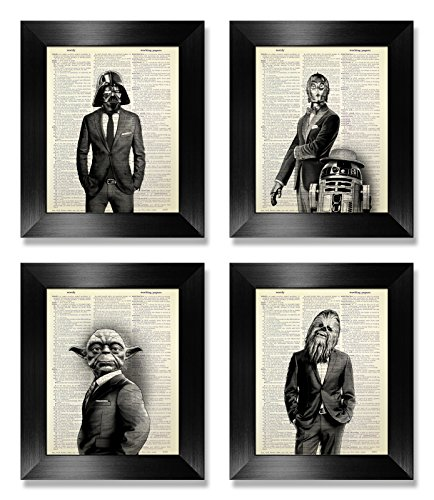 Star Wars Poster Set of 4 Original Dictionary Art Print, Star Wars Gift for Man, Darth Vader, Chewbacca, C3PO, R2D2, Yoda Wall Art Decor