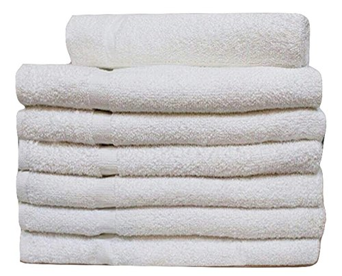 60 Pcs  WHITE ECONOMY 15X25 HAND TOWEL 100% COTTON - 2.25 LB