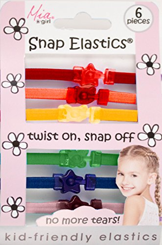 Mia Snap Elastics-Kids Friendly Flat Rubberbands-Twist On, Snap Off! No MORE Crying-Less Damage To The Hair-Rainbow Colors With Fun Shaped Connectors (6 pieces per - On Sale Pradas