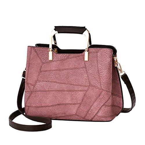 Bolso De Hombro De Cuero De La Moda Bolso De Cuero De La Mujer,Gray Pink