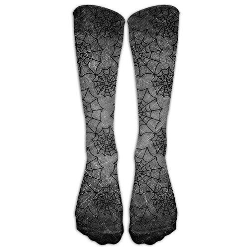 FUNINDIY Halloween Spider Web Compression Socks Soccer Socks High Socks For Running,Medical,Athletic,Edema,Diabetic,Varicose Veins,Travel,Pregnancy,Shin -