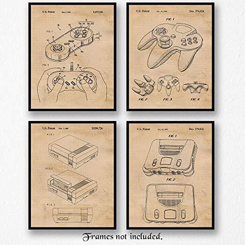 Original Nintendo Video Games Patent Art Poster Prints - Set of 4 (Four Photos) 8x10 Unframed - Great Wall Art Decor Gifts Under $20 for Home, Office, Garage, Man Cave, Game Room, Teacher, Gamer ()