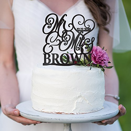 Personalized Wedding Cake Toppers Mr and Mrs Cake Topper - Bride and Groom Cake Toppers Wedding Favor | Custom Wedding Cake Topper (9 Different Colors) -