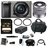 Sony Alpha A6000 Camera w/ 16-50mm & 18-55mm Lens Accessory Bundle (Graphite)