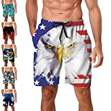 Men's Swimming Trunks American Flag Man Novelty Swimwear Hawaiian Beach Bathing Suits Independence Day 4th July Prime (Style 11A1, Small)