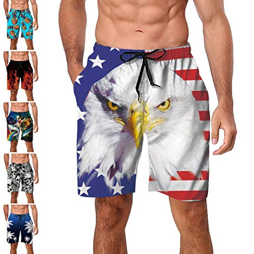 Freshhoodies Teen Boys Swim Trunks American Flag Striped Bathing Suit Hawaiian Tropical Big and Tall Board Shorts Independence Day (Style 11A1, XX-Large)