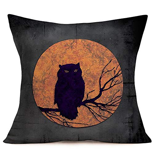Halloween Cat Silhouette Pattern (Pillowcase Halloween Night Moon with Animal Silhouette Pattern Cotton Linen Square Throw Pillow Case Owl Pillow Covers with Zipper Slipcover Home Sofa Decor for Halloween Pillowslip 18