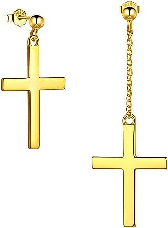 Män korsörhängen 925 sterling silver/18K guld/svart pistolmetall kvinnor asymmetriska knoppörhängen kristna smycken födelsedagspresent