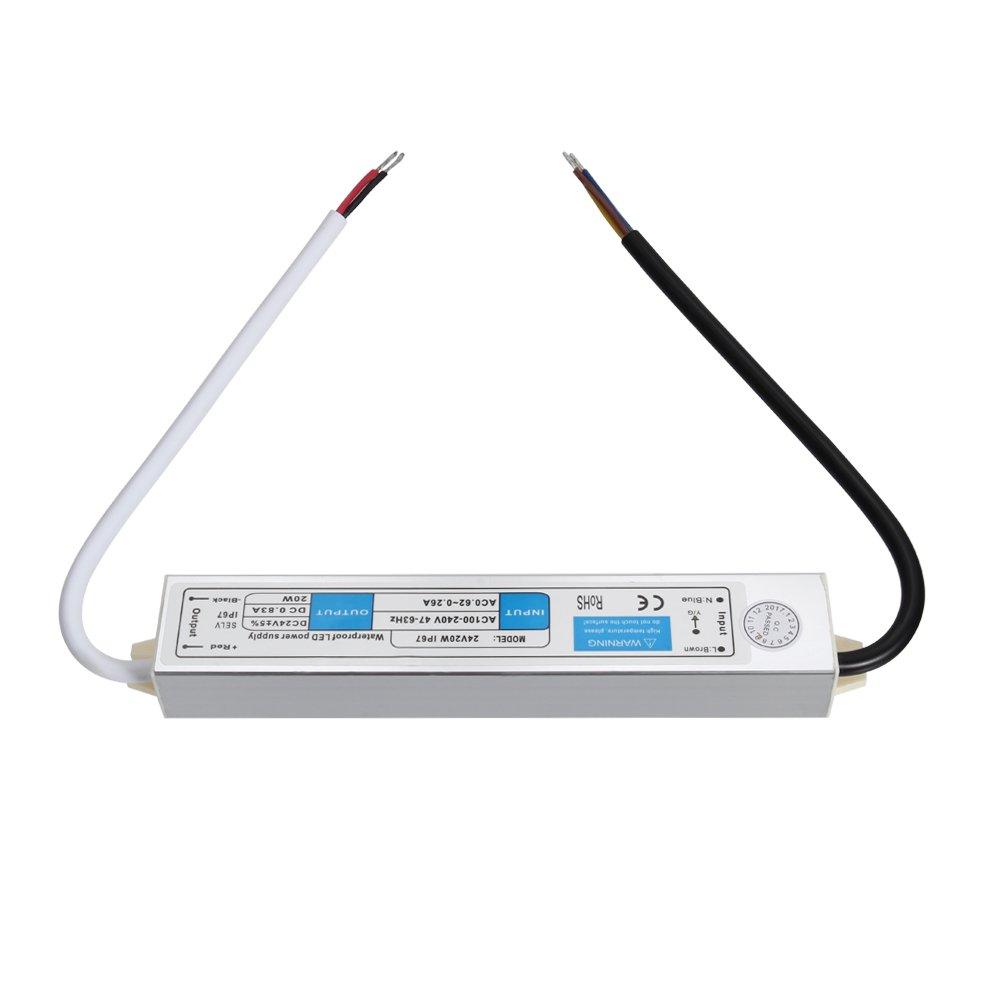 Rokoo Alimentation d/énergie de commutateur imperm/éable dIP67 CA 100 ~ 240V /à ladaptateur de DC 24V 0.8A 20W pour la lumi/ère de bande de LED