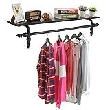 Decorative Wall Mounted Black Metal Storage Display Shelf / Coat & Garment Hanging Storage Rod Rack