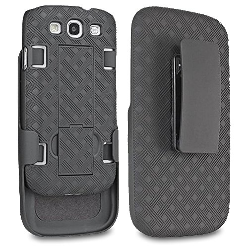 se, SOGA [Holster Combo Series] Slim Hard Armor Case with Kickstand and Swivel Belt Clip Samsung Galaxy S3 - Black ()