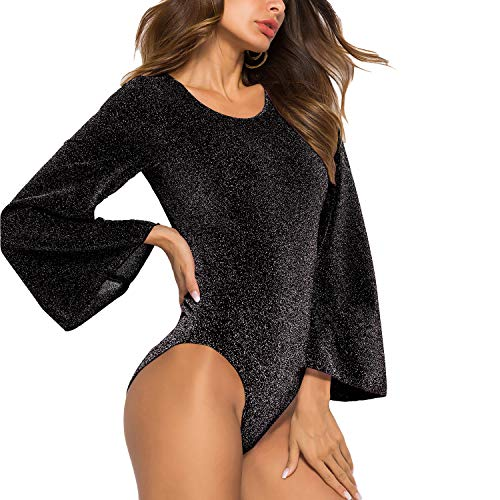 Jusfa Women's Leotard Bodysuit Glitter Sheer Mesh Jumpsuit Long Bell Sleeves Tops Black US M (Tag XL) ()