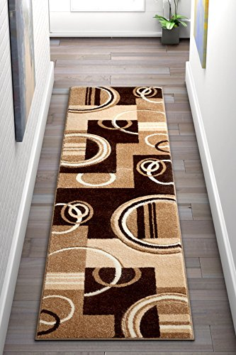 (Echo Shapes & Circles Ivory / Beige Brown Modern Geometric Comfy Casual Hand Carved Runner Rug 2x7 ( 2' x 7' ) Easy Clean Stain Fade Resistant Abstract Contemporary Thick Soft Plush Living Room)