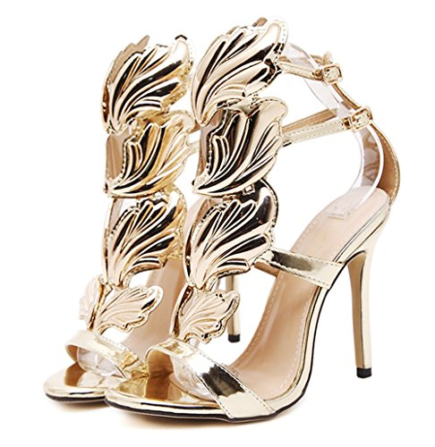 2017 New Women Pump Sexy Gold Leaf Flame Wings Buckle Str...